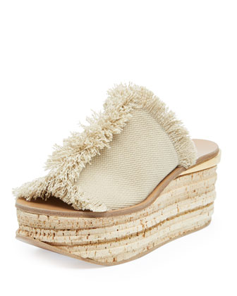 Fringe Canvas Low Wedge Sandal, Medium Beige