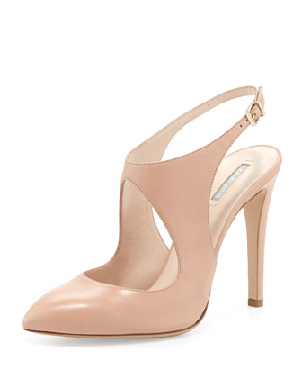 Leather Keyhole Ankle-Strap Pump, Beige