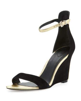 Roberta Suede Wedge Sandal, Black/Gold