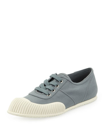 Gabardine Lace-Up Sneaker, Gray