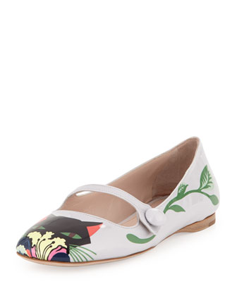 Leather Print Ballerina Flat, Lilium