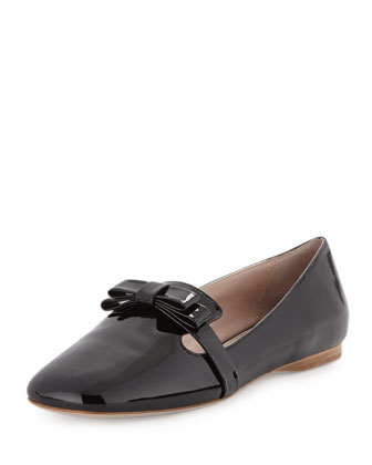 Bow Patent Smoking Slipper Flat, Black