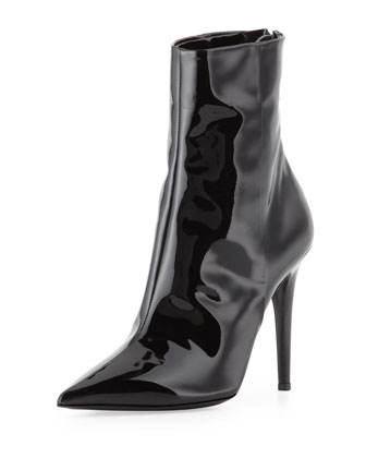 Point-Toe Patent Ankle Boot