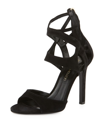 Suede Ankle-Cage Sandal, Black