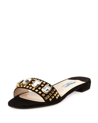 Suede Jeweled Flat Slide, Black