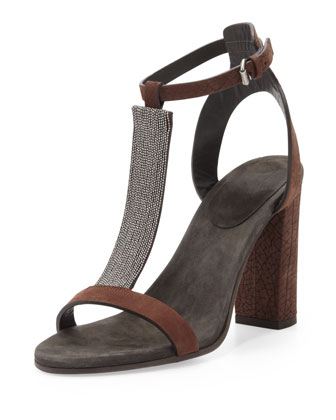 Chain T-Strap High-Heel Sandal, Dark Brown