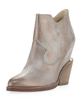 Lula Metallic Wedge Ankle Boot, Taupe/Pewter