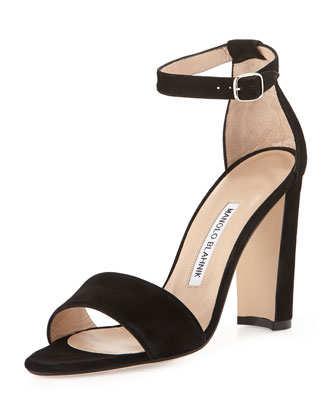 Lauratop Suede Ankle-Wrap Sandal, Black