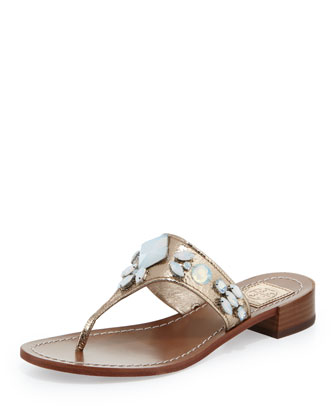 Ginevra Jeweled Thong Sandal, Platinum