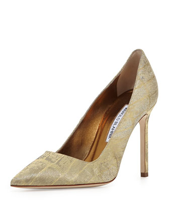 BB Metallic Croc-Print 105mm Pump, Gold