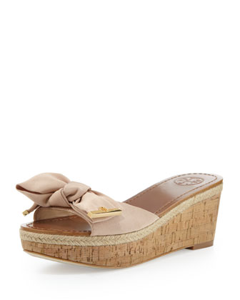 Penny Bow Wedge Slide, Camellia Pink