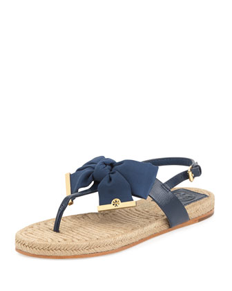 Penny Flat Bow Espadrille Thong Sandals, Newport Navy