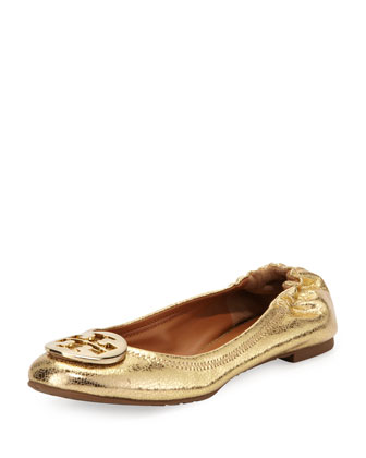 Reva Crackled Metallic Ballerina Flat, Gold