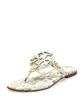 Tory Burch Miller Botanical-Print Logo Thong Sandal