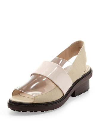 Darwin Peep-Toe Slingback Loafer, Birch/Powder