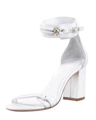 Skull-Detail Ankle-Wrap Sandal, Optic White