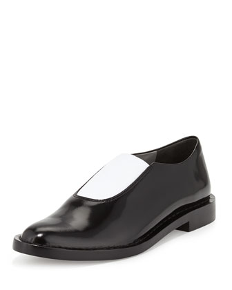 Darla Leather Stretch Loafer, Black/White