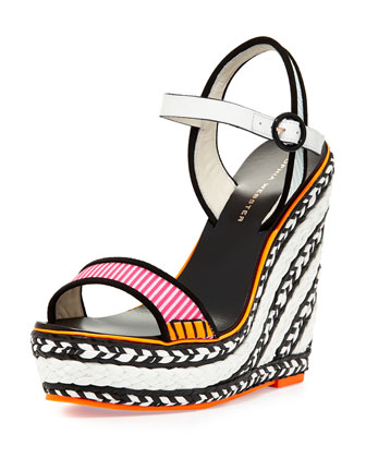 Lucita Striped Wedge Sandal, Pink