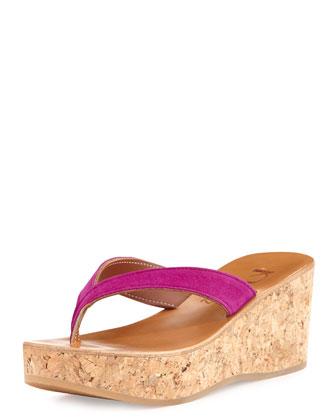 Diorite Fuchsia Suede Cork Wedge Thong Sandal
