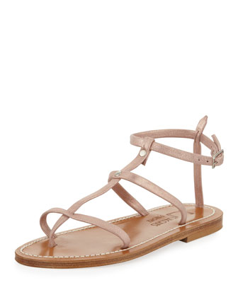 Gina Metallic Suede Gladiator Sandal, Rose Gold