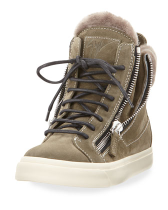 Suede Zip High-Top Sneaker, Jasmine