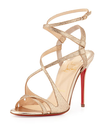 Audrey Strappy Glitter Red Sole Sandal, Poudre