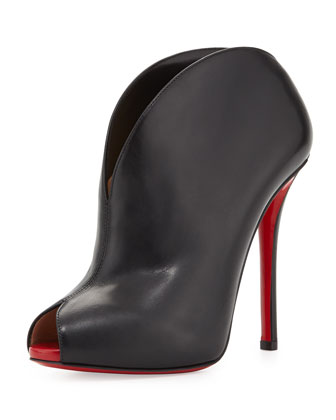 Chester Fille Peep-Toe Red Sole Bootie, Black/Red