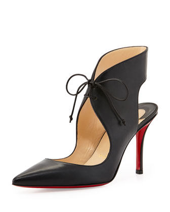 Franca Lace-Up Red Sole Pump, Black