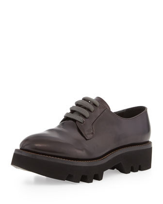 Lace-Up Leather Creeper Shoe, Dark Burgundy