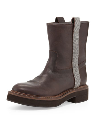 Flat Ankle Boot with Ball-Chain Trim, Grayish Brown