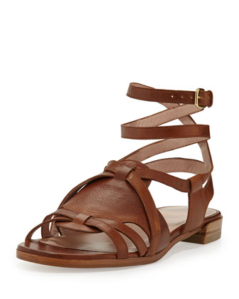 Greek Strappy Leather Sandal, Saddle