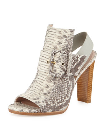 Sunbelt Buckled Snake-Print Sandal, Natural