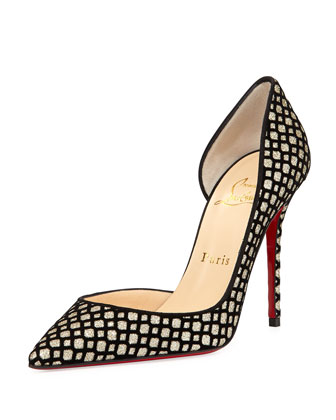 Iriza Glittered Flocked Red Sole Pump, Platine/black