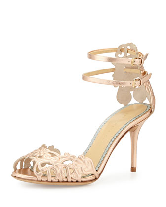 Margherita Metallic Cutout Sandal, Rose Gold