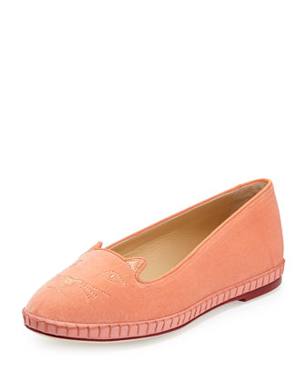 Capri Cats Velvet Slipper, Blush