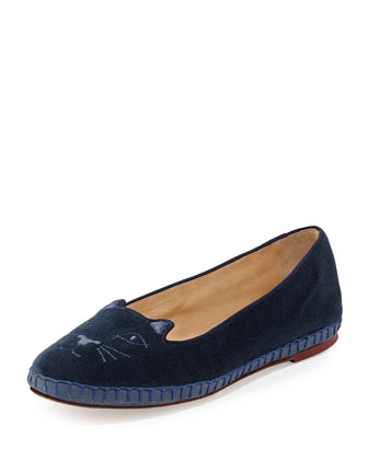 Capri Cats Velvet Slipper, Blue