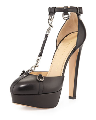 Lady Danger T-Strap Chain Pump, Black