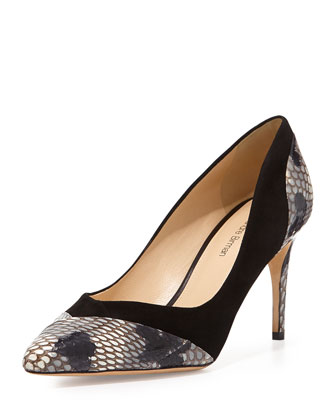 Suede and Python Pointy Pump, Black/Anthracite