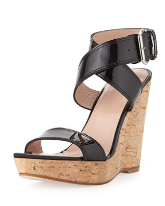 Xray Patent Cork Wedge, Black (Made to Order)