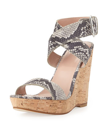 Xray Snake-Print Cork Wedge, Natural