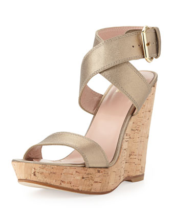Xray Metallic Leather Cork Wedge, Ale