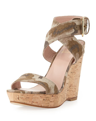 Xray Linen Cork Wedge, Tan Camo
