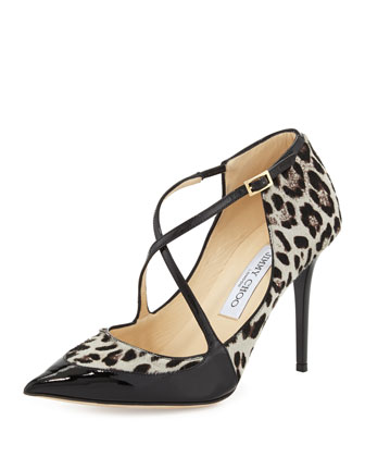 Mallow Calf Hair Crisscross Pump, Leopard/Black