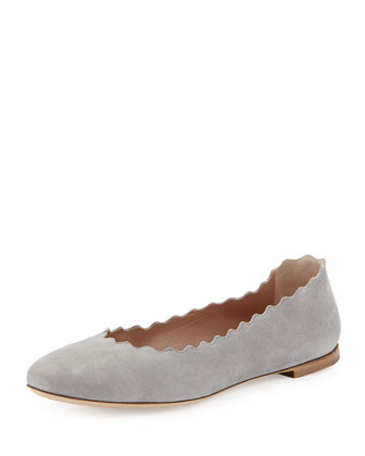 Scalloped Suede Ballerina Flat, Cloud Gray