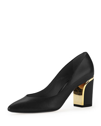 Leather Curved-Heel Pump, Black