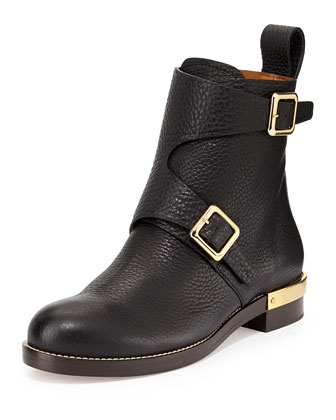 Double-Buckled Leather Ankle Boot, Black