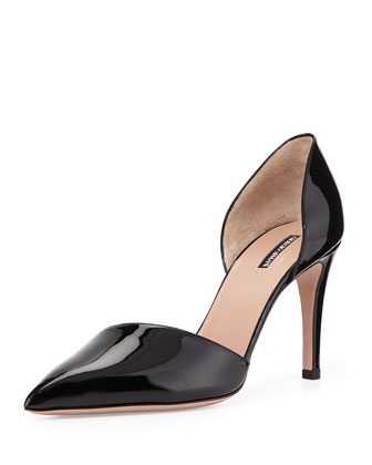 Patent Leather d'Orsay Pump, Nero