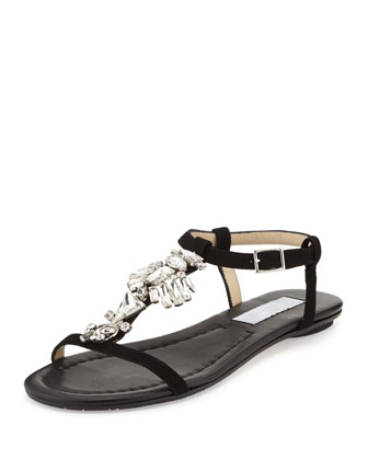 Night Jeweled Suede Sandal, Black