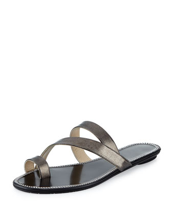 Noosa Strappy Metallic Slide, Anthracite