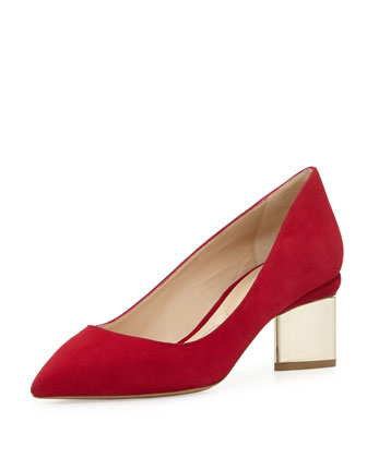 Suede Triangle-Heel Pump, Dark Red